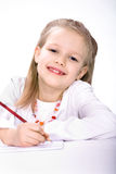 Drawing schoolgirl Royalty Free Stock Image