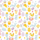 Drawing seamless Easter ornament Stock Photos
