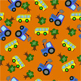 Drawing seamless pattern bus tractor. On an orange background Stock Photography