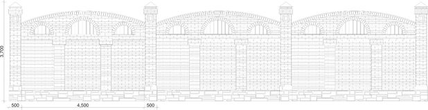 Drawing of section of a brick fence. On white background vector illustration