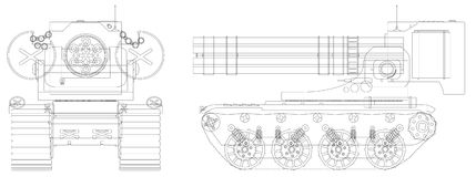 Drawing a self-propelled heavy machine gun Stock Photo