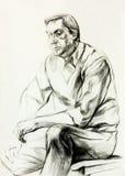 Drawing of a senior man Royalty Free Stock Image
