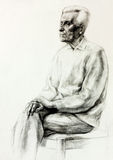 Drawing of a senior man Stock Images