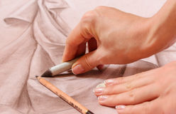 Sketch Drawing Hands royalty free stock image