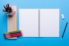 Drawing set on blue table Stock Photography