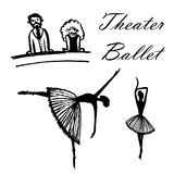 Drawing of a set of cartoon pictures spectators in the theater watching ballet, hand-drawn vector illustration. Drawing of a set of cartoon pictures spectators Stock Photo