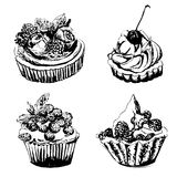 Drawing set of 4 cupcakes sketch illustration  Stock Photos