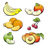 Drawing set of different color fruits Royalty Free Stock Images
