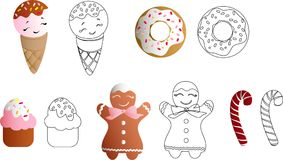 Set with ice lolly, cookies, donuts with cream. Drawing of a set with ice lolly, cookies, donuts with cream, cupcakes, bonbon and sprinkles with smile faces and Stock Photo