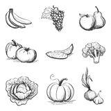 Drawing Set of icons vegetables and fruits Royalty Free Stock Photo