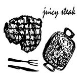 Drawing set of isolated pictures juicy meat steak with garnish and cutlery, sketch,  vector illustration. Drawing set of isolated pictures juicy meat steak with Royalty Free Stock Image