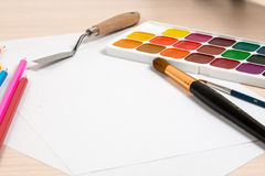 Drawing set for lying about a clean slates Royalty Free Stock Photography