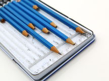drawing set of pencils. close-up. isolated Stock Photos