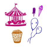Drawing set of pictures `fair`: merry little carousel, popcorn, balloons and ice cream, sketch, ink color vector illust. Drawing set of pictures `fair`: merry Stock Photography