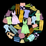 Drawing Set Summer clothes for women. Natural, trendy color. Girl vacation for Sale and retail. Special offer. Isolated Stock Image