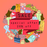 Drawing Set Summer clothes for women. Natural, trendy color. Girl vacation for Sale and retail. Special offer.  Royalty Free Stock Image
