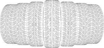 Drawing of seven wire-frame tires. Vector Royalty Free Stock Photo