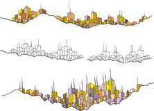 Drawing of several cityscapes Stock Photography
