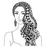 Drawing sexy woman zentangle  Stock Image