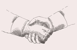 Drawing Shake Hands Partnership Vector Sketch Royalty Free Stock Photos