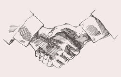 Drawing Shake Hands Partnership Vector Sketch Stock Image