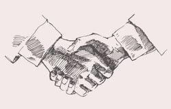 Drawing Shake Hands Partnership Vector Sketch. Drawing shake hands partnership hand drawn vector illustration sketch Stock Image