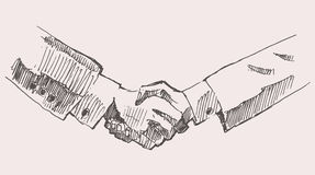 Drawing Shake Hands Partnership Vector Sketch Royalty Free Stock Images