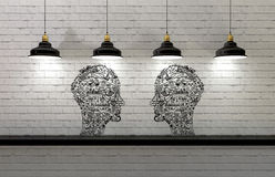 Drawing in shape of man head with lamps above Stock Images