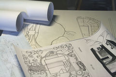 Drawing, sheets of paper Royalty Free Stock Photography