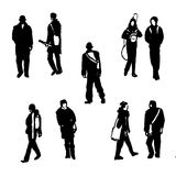 Drawing silhouettes of human figures graphic black ink hand-drawn  illustration. Drawing silhouettes of human figures graphic black ink sketch hand-drawn Royalty Free Stock Photo