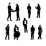Drawing silhouettes of human figures graphic black ink hand-drawn  illustration. Drawing silhouettes of human figures graphic black ink sketch hand-drawn Royalty Free Stock Photography