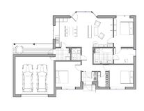 Drawing: single family house. Drawing: the floor plan of the single family house