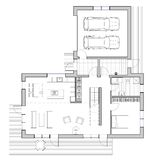 Drawing: single family house. Drawing: the floor plan of the single family house Stock Image