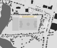 Drawing: site plan of the football stadium Stock Image