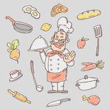 Drawing sketch cook and various kitchen objects Royalty Free Stock Image