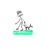 Drawing sketch doodle human stick figure man walking with a dog. Hand drawing sketch doodle human stick figure man walking with a dog on paint colored spot Royalty Free Stock Image