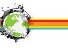 Drawing sketch globe banner design. Drawing sketch globe grunge banner design Stock Photo
