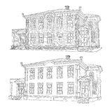 Drawing, sketch of a house. Vector illustration. Stock Photography