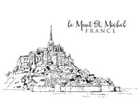 Free Drawing Sketch Illustration Of Le Mont Saint Michel Stock Photography - 160498122