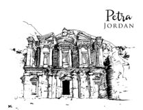 Free Drawing Sketch Illustration Of Petra, Jordan Stock Photography - 170426792
