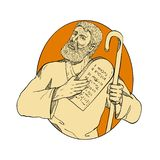 Prophet Moses Ten Commandments Drawing Color royalty free stock photography