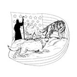 Sheepdog Defend Lamb from Wolf Drawing Royalty Free Stock Images