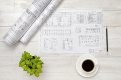 Drawing sketches, cup of coffee and houseplant are on wooden surface Royalty Free Stock Photos