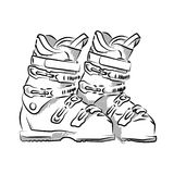 Drawing of ski boots. A outline drawing of downhill skiing ski boots Stock Photography