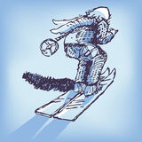 Drawing skier Royalty Free Stock Photo