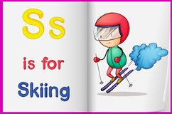 Drawing of skiing on a book. Illustration of drawing of skiing on a book on a white background Stock Photography