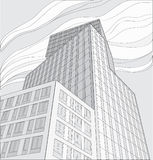 Drawing of skyscraper. (black on white Stock Photo