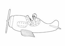 Drawing small aviator. Vector illustration of a character in a plane, EPS 10 file Stock Illustration