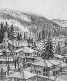 Drawing of Small Town Koprivshtica in the Winter Stock Images