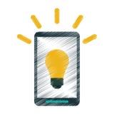 Drawing smartphone bulb idea imagination Royalty Free Stock Photography